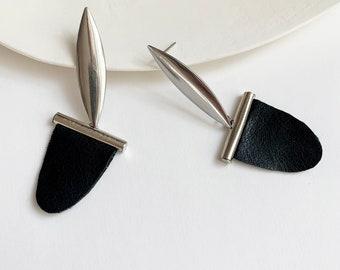 Statement faux leather earrings , geometric tribal inspired earrings
