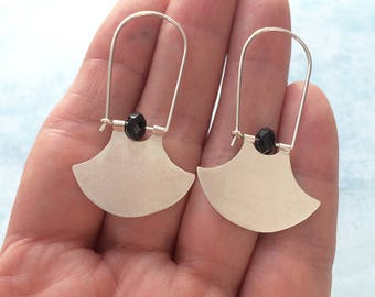 Sterling silver tribal hoop earrings - geometric earrings - dangle and drop - ethnic earrings
