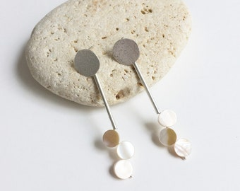 Dangle mother of pearl circle earrings - long statement geometric earrings - modern silver earrings - contemporary jewelry - gift for her