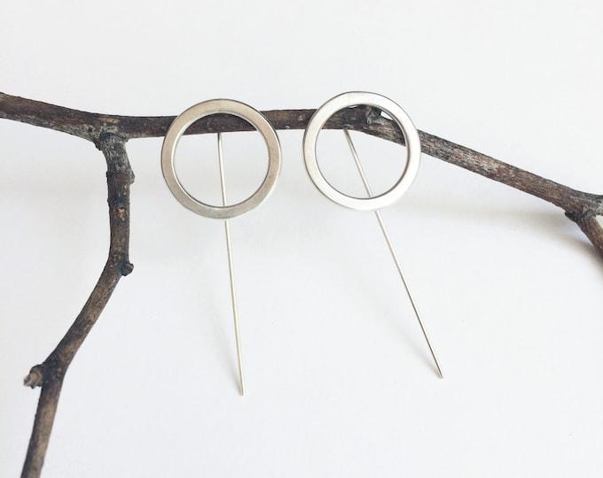 Bar open circle earrings - minimalist geometric earrings - sterling silver stick earrings