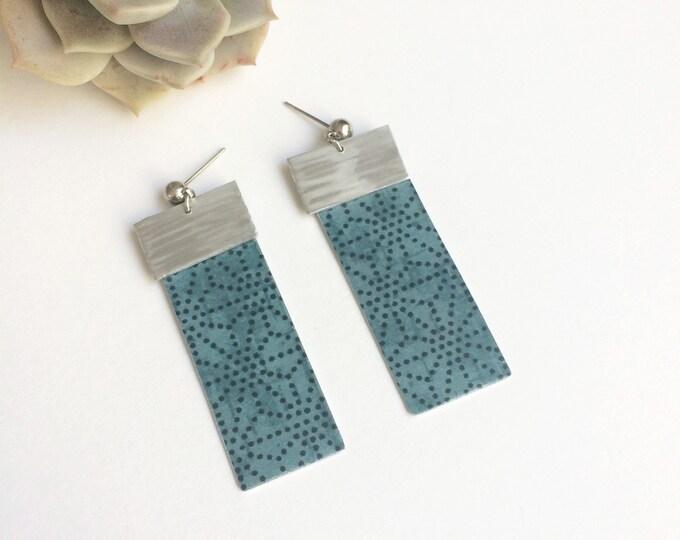 Geometric large paper earrings - statement rectangle bar earrings - lightweight big stud earrings