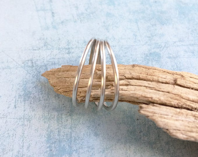 Minimalist sterling silver 4 Rings ring - Circles ring - four rings welding - delicate rings ring - statement ring