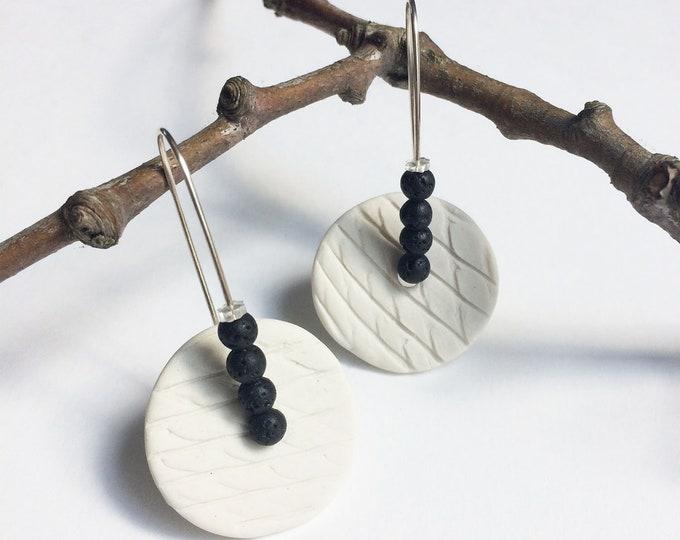 Long porcelain circle earrings - black lava earrings