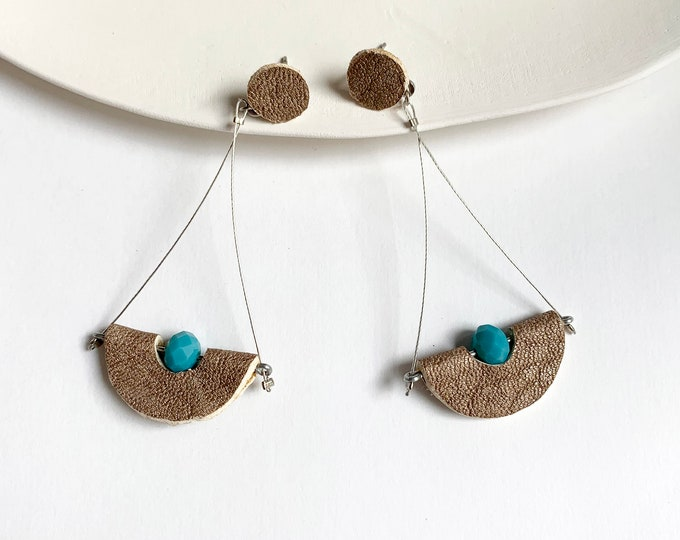 Long half moon leather earrings - geometric gold and turquoise earrings