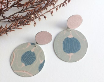 Asymmetric floral earrings - large circle stud earrings - statement paper earrings