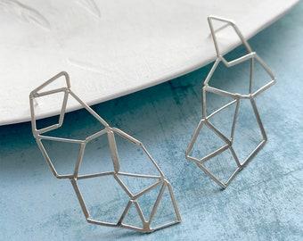 Statement geometric sterling silver earrings - big modern asymmetrical net earrings
