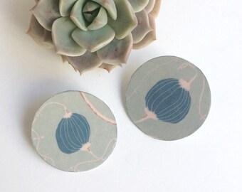 Big circle lightweight stud earrings - statement geometric paper earrings