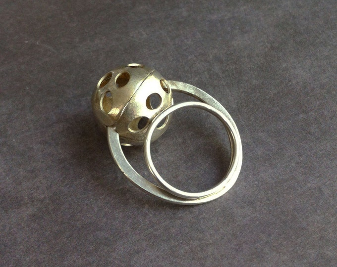 Statement sterling silver ball ring - geometric orb ring - moon ring