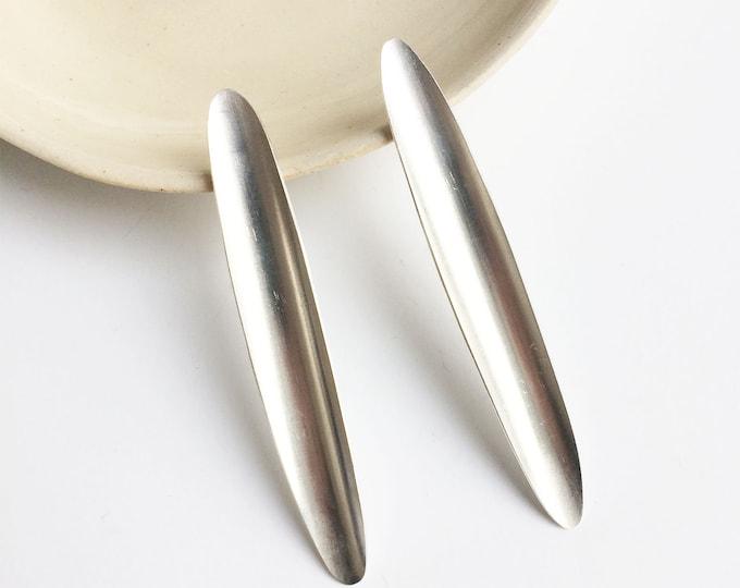 Minimalist long oval earrings - simple leaf bar earrings