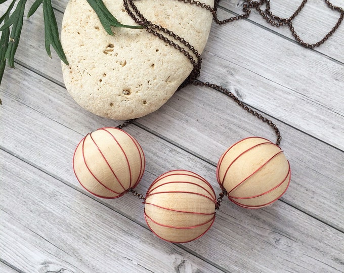 Long Wood Necklace - big wooden balls and copper necklace - minimalist copper necklace