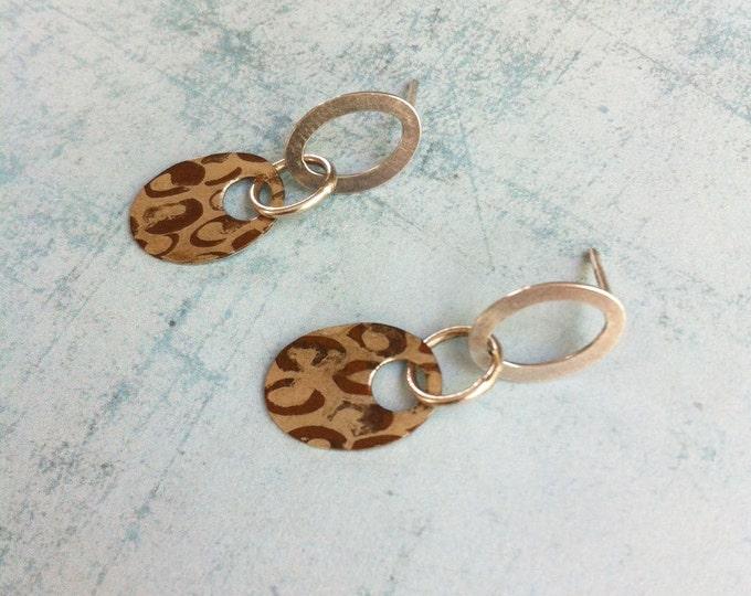Small oval stud drop earrings - sterling silver and copper earrings - leopard pattern
