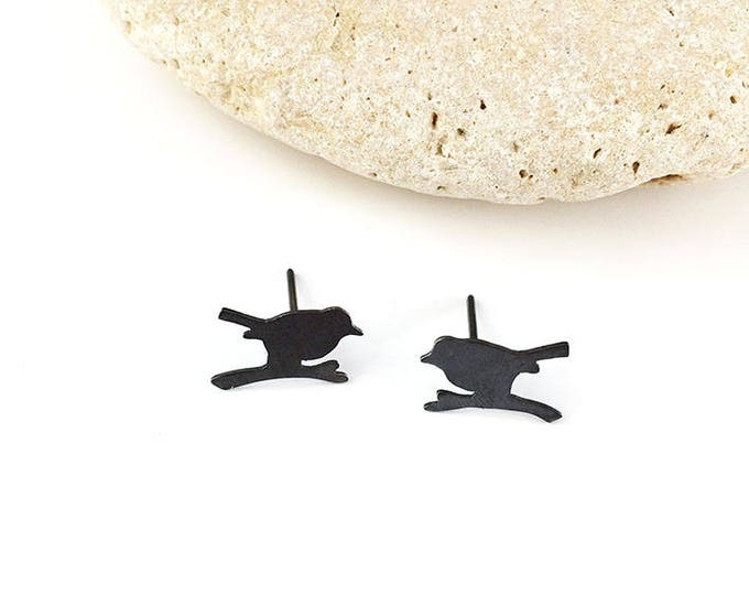 Tiny black silver bird earrings - bird silhouette stud earrings