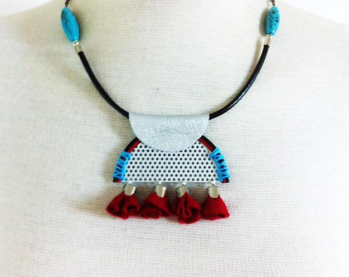 Bib Necklace - tassel  tribal necklace -statement necklace -felt jewelry -leather jewellery- turquoise necklace- leather and felt -half moon