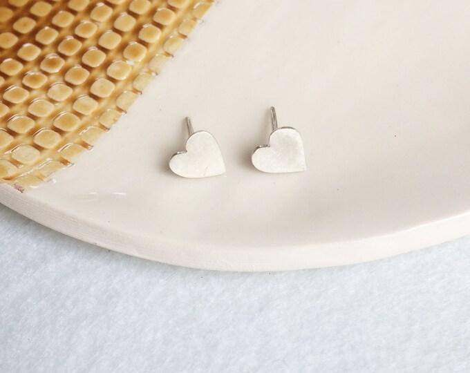 Tiny hearts stud earrings - sterling silver minimal earrings - small  hearts earrings