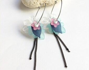 Acrylic flower hoop earrings with charm - statement boho flower earrings