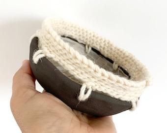 Small decorative ceramic bowl with crochet - brown stoneware trinket bowl