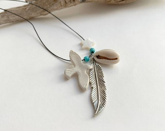 Feather and bird pendant necklace - Boho multi charm necklace