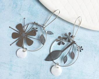 Statement silver hoop flower earrings - drop circle with flowers
