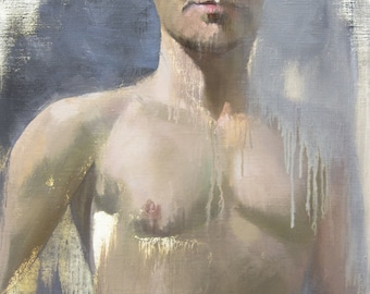 Male Nude Print, Naked Man Art, Male Torso Canvas Art, Beige Artwork Giclee PRINT