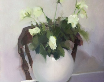 Still Life Painting with White Roses, Flower Oil Painting on Canvas Original Art