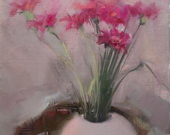Pink Painting Gerber Flower Oil Artwork, Gift Still Life Art