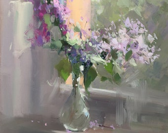 Abstract Flower Oil Painting on Canvas, Still Life Artwork with Lilacs Anniversary Gift