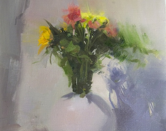 Oil Small Floral Painting, Colorful Flowers painting, Still Life Painting, Spring Wall Art Original