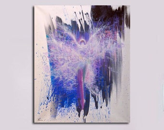 Gift for Her Colorful canvas print, Dancer art print, purple canvas art, abstract giclee print, blue abstract art gift for dancer