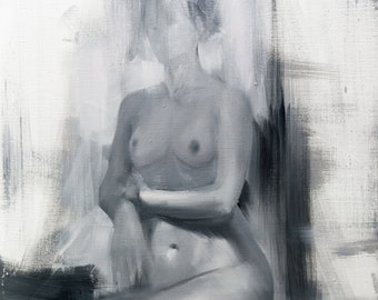Nude Oil Painting, Black and White Canvas Art, Naked Woman art, Female Body, Contemporary Painting for Bedroom Art Original