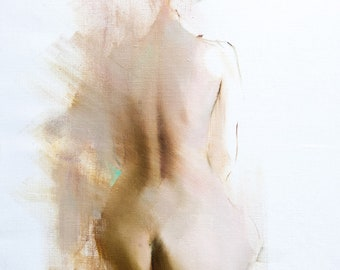 Original Nude Painting Back View Female Painting, Contemporary Oil Nude Art Beige Bedroom Art