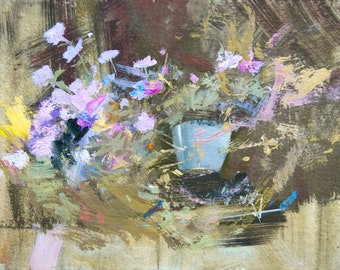 Abstract Flowers Painting, Oil Floral Artwork, Brown Lilac Canvas Art Original