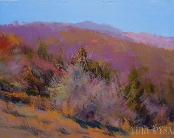 Oil Landscape Abstract Art, Contemporary Landscape Painting, Autumn Mountain Wall Art