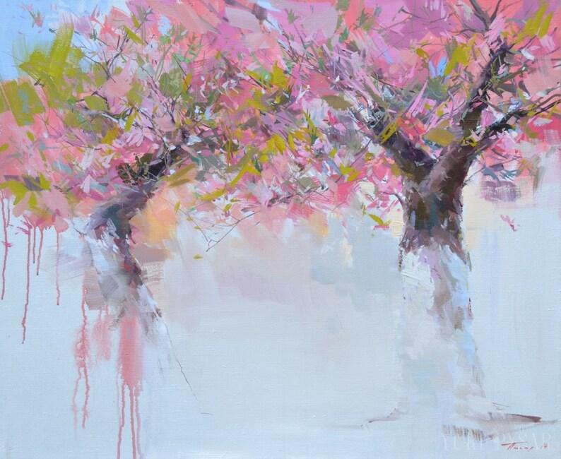 Paesaggio dipinto ad olio alberi in fiore pittura primavera | Etsy