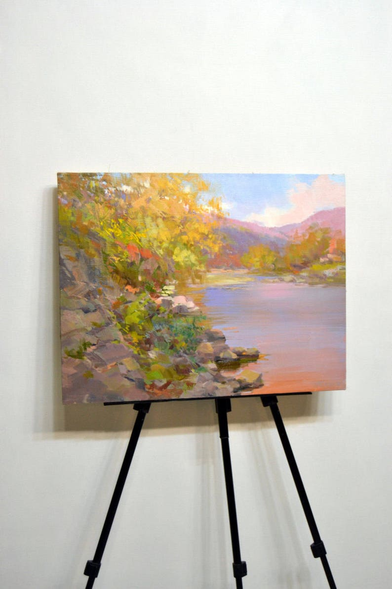 Nature Wall Art Landscape Impressionist Painting Oil On Canvas Large Trees Painting River And Mountains In Autumn Colors