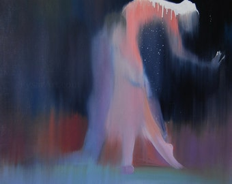 Love art print, Giclee print, modern contemporary, Dance print, Blue and pink romantic painting print, Dancing couple in love art