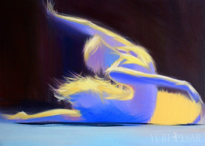 Gift for Her Dance Gifts Yellow and Blue Canvas Art Ballerina Abstract Canvas Print Art Print Contemporary GICLEE Print