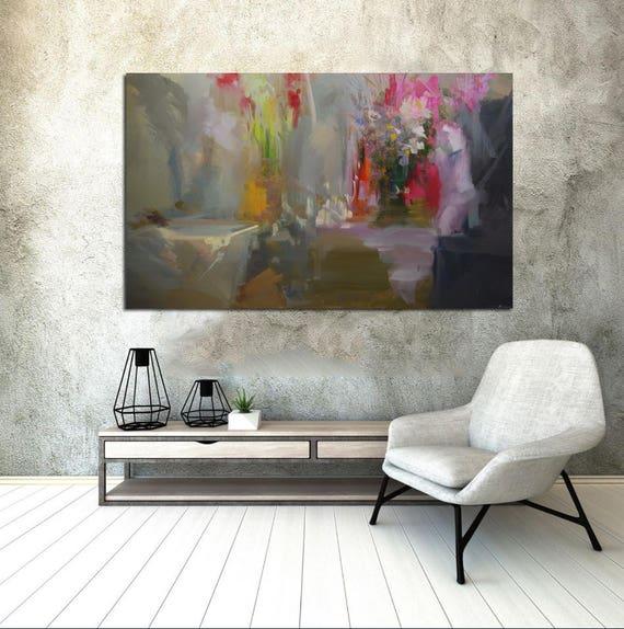 Große Oversized Malerei für Wohnzimmer, zeitgenössische Kunst Malerei grau  ursprüngliche Kunst abstrakte Malerei