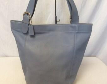 486ba5e9bb2c Vintage Authentic COACH Light Blue Leather Large Shoulder Bag Tote Bag  Bucket Bag