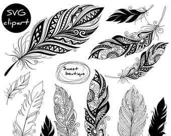 SVG Digital feathers, Feathers Digital Clipart, Feather Silhouettes, Cutting file, Aztec Feathers,Digital Feather,Tribal Clip Art 0002