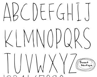 Hand Draw Alphabet Letters Font Clip Art Black Alphabet Etsy