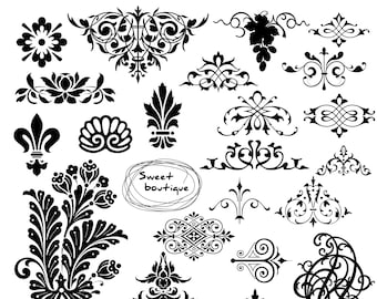 Damask clipart, Clip art damask, Digital Clipart, Digital Damask, Text Dividers, Digital Frame, Digital border, Damask element 0059