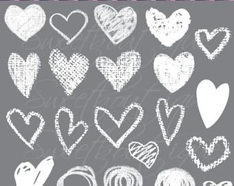 Digital Clip Art White Hand draw heart clipart Love clip arts Valentines day clipart Chalk clip art Digital hearts 0781 Heart clipart