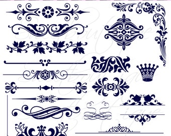 Digital clipart scrapbooking digital frames wedding decoration etsy 18 either navy digital scrapbooking flourishes digital frames instant download wedding flourishes swirly text dividers swoosh clipart 0321 junglespirit