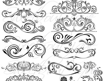White 17 Calligraphy Vintage Clip Art Diy Wedding Cards Design Etsy
