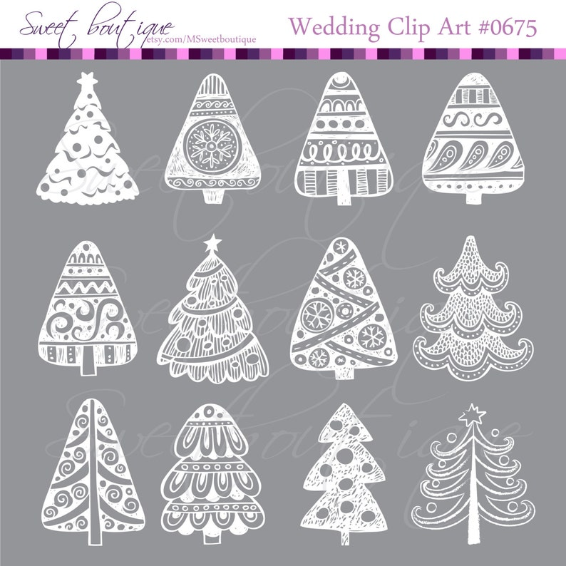 White Christmas Trees Xmas Trees Clipart Ornaments Make Your Etsy