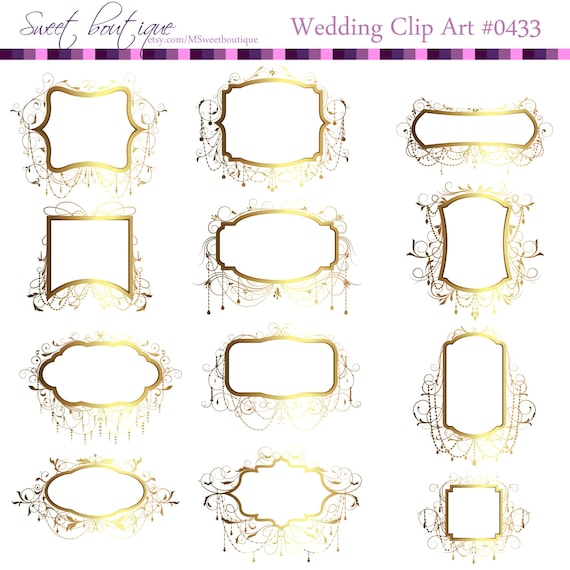Wedding Clip Art Gold Frames Gold Chandelier Clipart Ornate Etsy