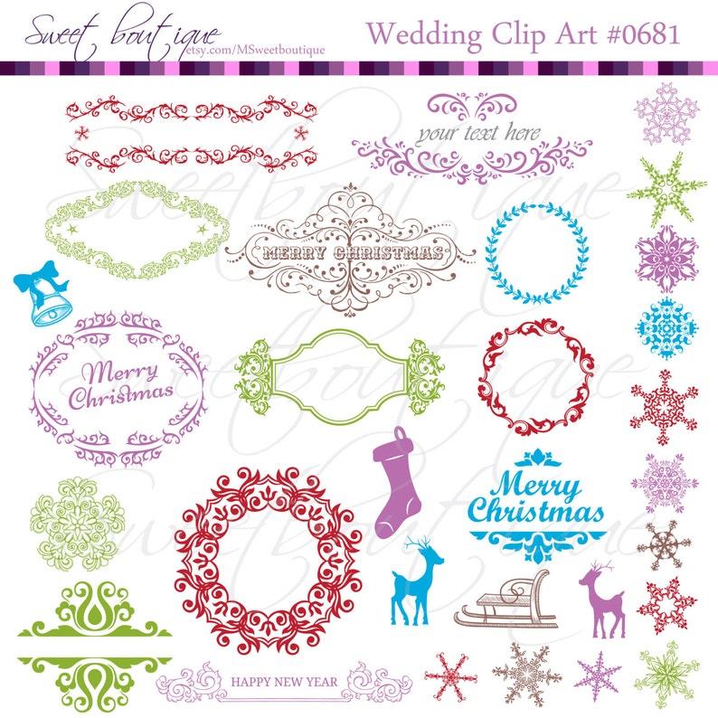 Christmas clip arts Retro Vintage Christmas snowflakes XMAS Clipart Ornaments 0681