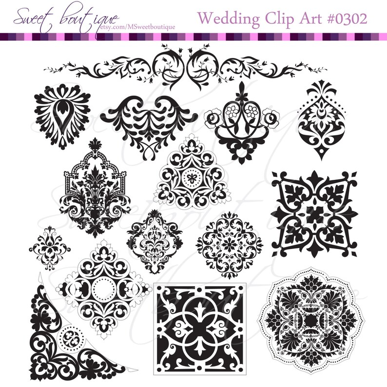 Frames Border Clipart Damask Black Digital Scrapbook Frame Etsy