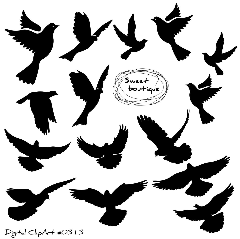 Birds Silhouette Digital Bird Clip Art Clipart Bird Bird ...