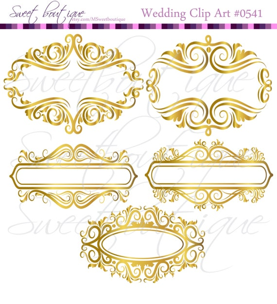GOLD Floral Frame Ornaments Decoration Graphics Border Vintage Flourish Classic Wedding Clipart Transparent Background 0541 From MSweetboutique On Etsy